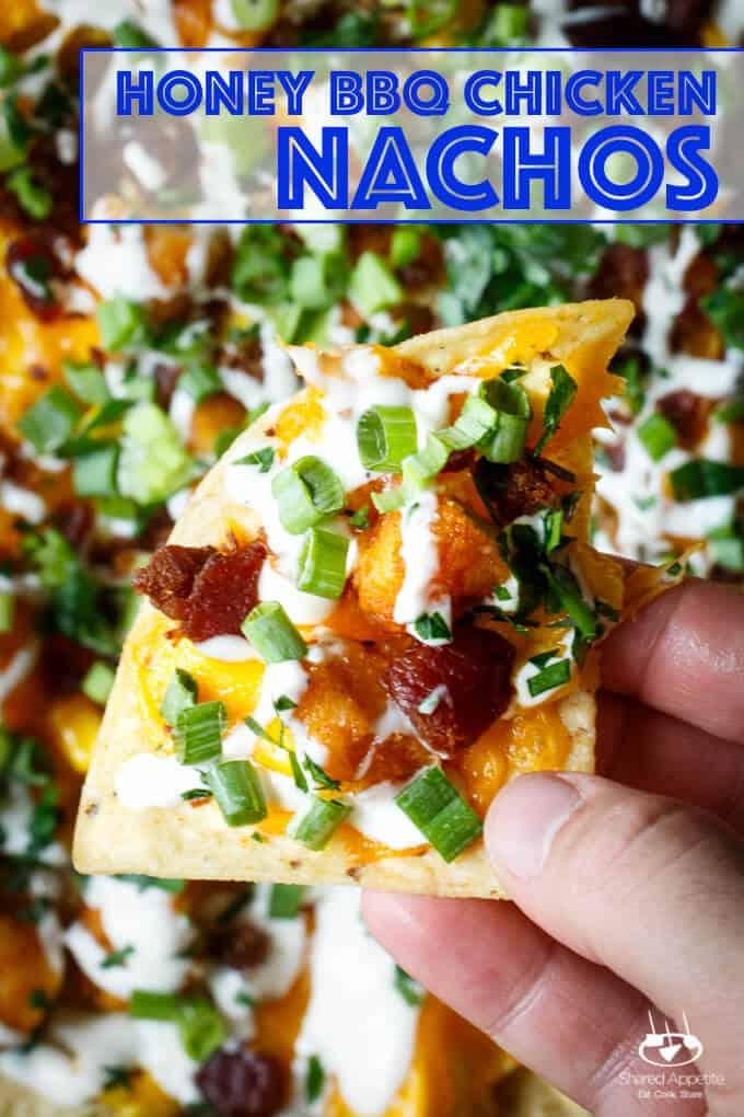 Honey BBQ Chicken Nachos with Bacon, Scallions, Corn, and Ranch Dressing | sharedappetite.com