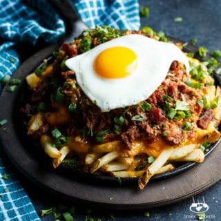 Loaded Pulled Pork Cheese Fries with a Fried Egg | sharedappetite.com