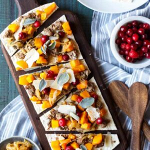 Butternut Squash and Lamb Flatbread with Cider Onions and Pickled Cranberries