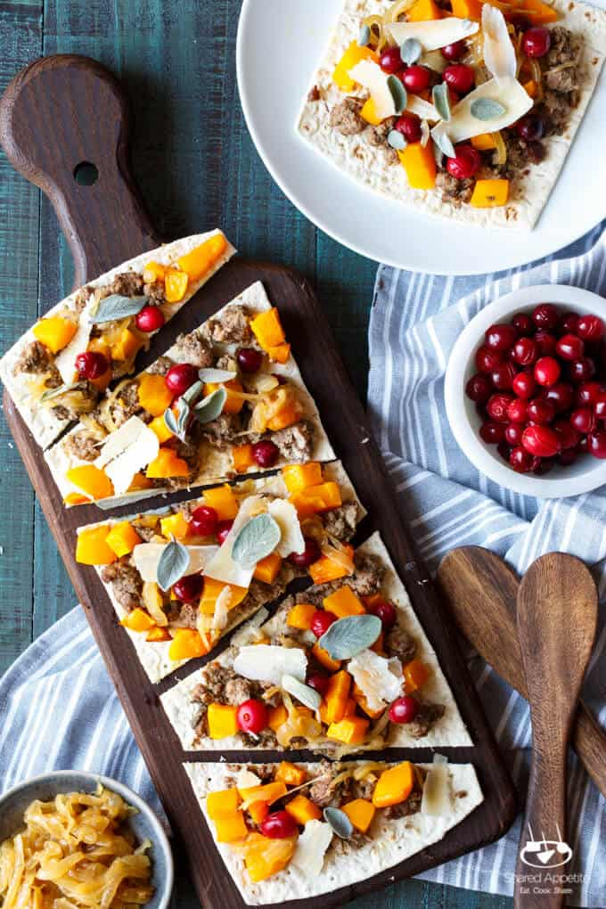 Butternut Squash and Lamb Pizza with Cider Caramelized Onions, Pickled Cranberries, Sage, and Parm | sharedappetite.com