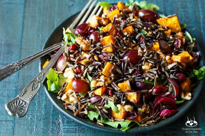 Sweet Potato, Grape, and Wild Rice Salad with Walnuts and Dried Cranberries | sharedappetite.com