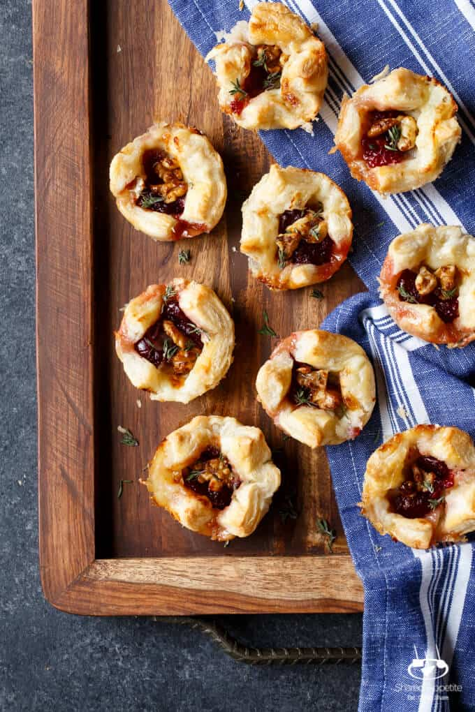 Cranberry Brie Puffs with Candied Walnuts | sharedappetite.com