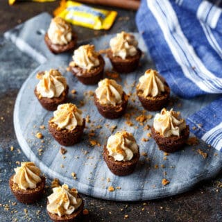 Butterfinger Cheesecake Brownie Bites | sharedappetite.com