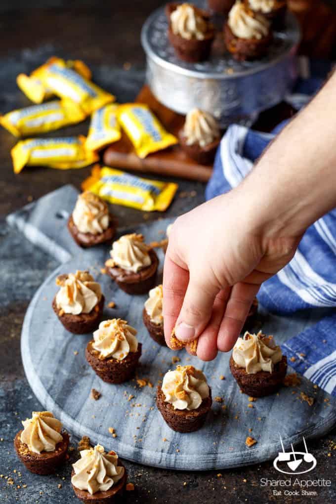 Butterfinger Cheesecake Brownie Bites | sharedappetite.com