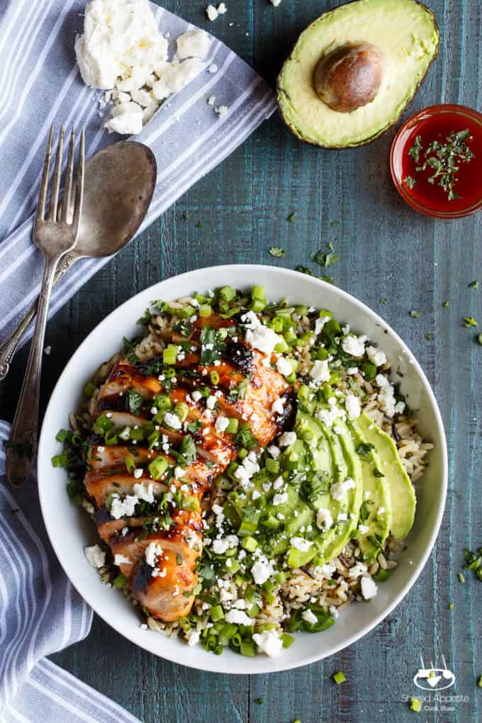 Grilled Honey Sriracha Chicken Rice Bowl with Avocado | sharedappetite.com