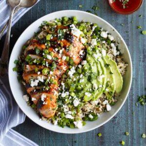 Grilled Honey Sriracha Chicken Rice Bowl with Avocado   sharedappetite.com