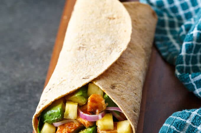 hawaiian bbq chicken wrap with avocado | sharedappetite.com