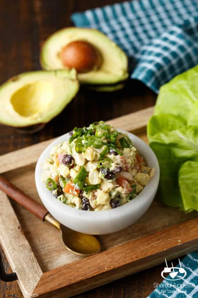Southwest Avocado Chicken Salad Lettuce Wraps | sharedappetite.com