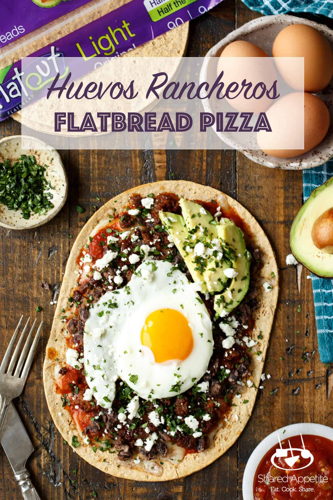 Huevos Rancheros Flatbread Pizza with Monterey Jack Cheese, Salsa, Black Beans, Avocado, and a Fried Egg! sharedappetite.com