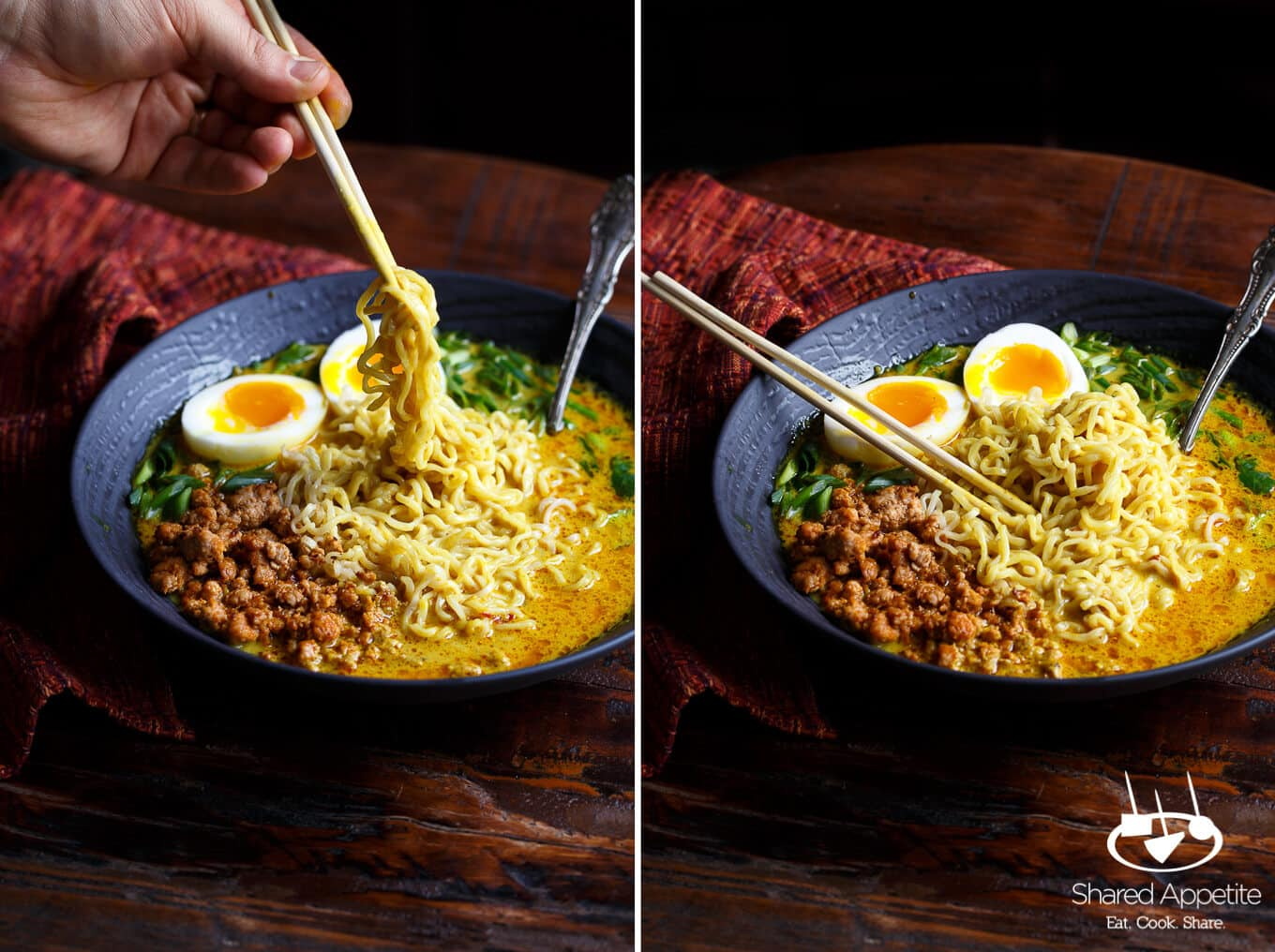 Spicy Pork Thai Coconut Curry Ramen with a Khao Soi soup base | sharedappetite.com