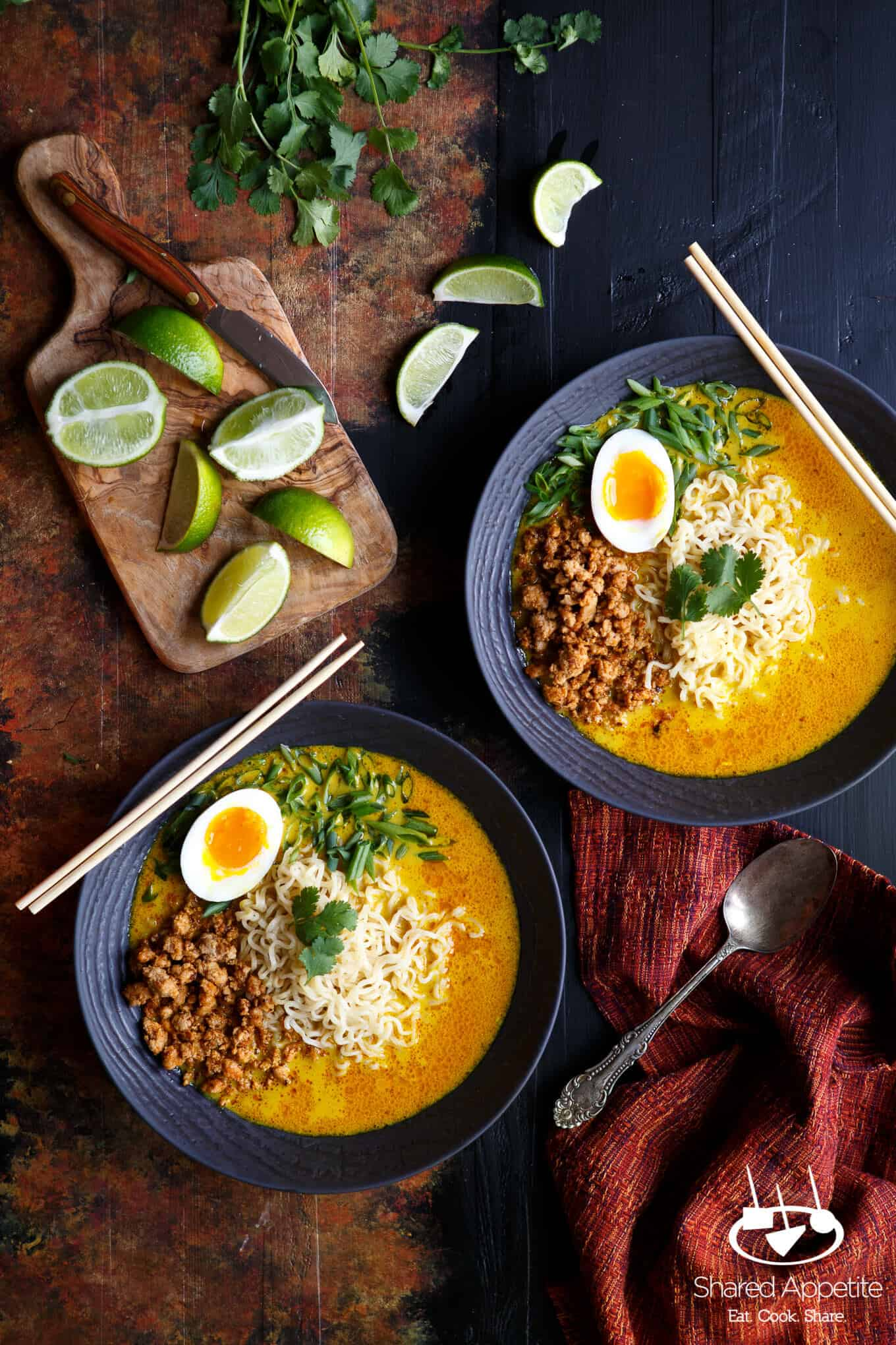 Spicy Pork Thai Coconut Curry Ramen with a Khao Soi soup base | sharedappetite.com
