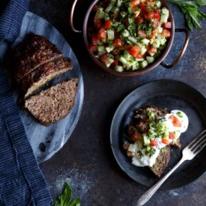 Lamb Kefta Meatloaf with Spiced Yogurt and Israeli Salad