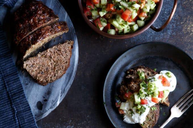 Lamb Kefta Meatloaf with Spiced Yogurt and Israeli Salad | sharedappetite.com