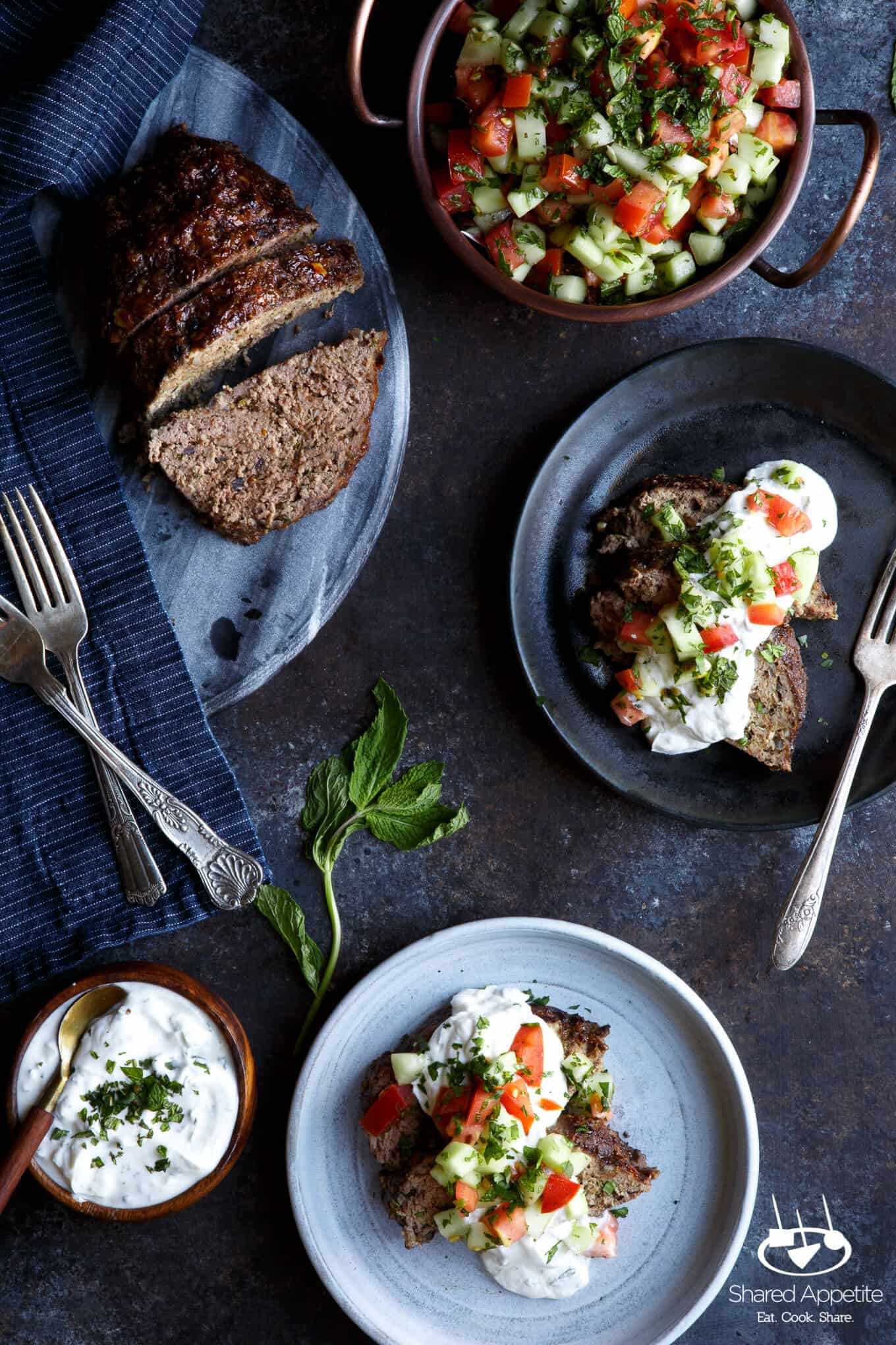 Lamb Kefta Meatloaf with Spiced Yogurt and Israeli Salad | sharedappetite.com