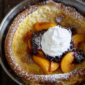 Peach Melba Dutch Baby Pancake