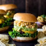 Mexican Street Corn Burgers with Guacamole | sharedappetite.com