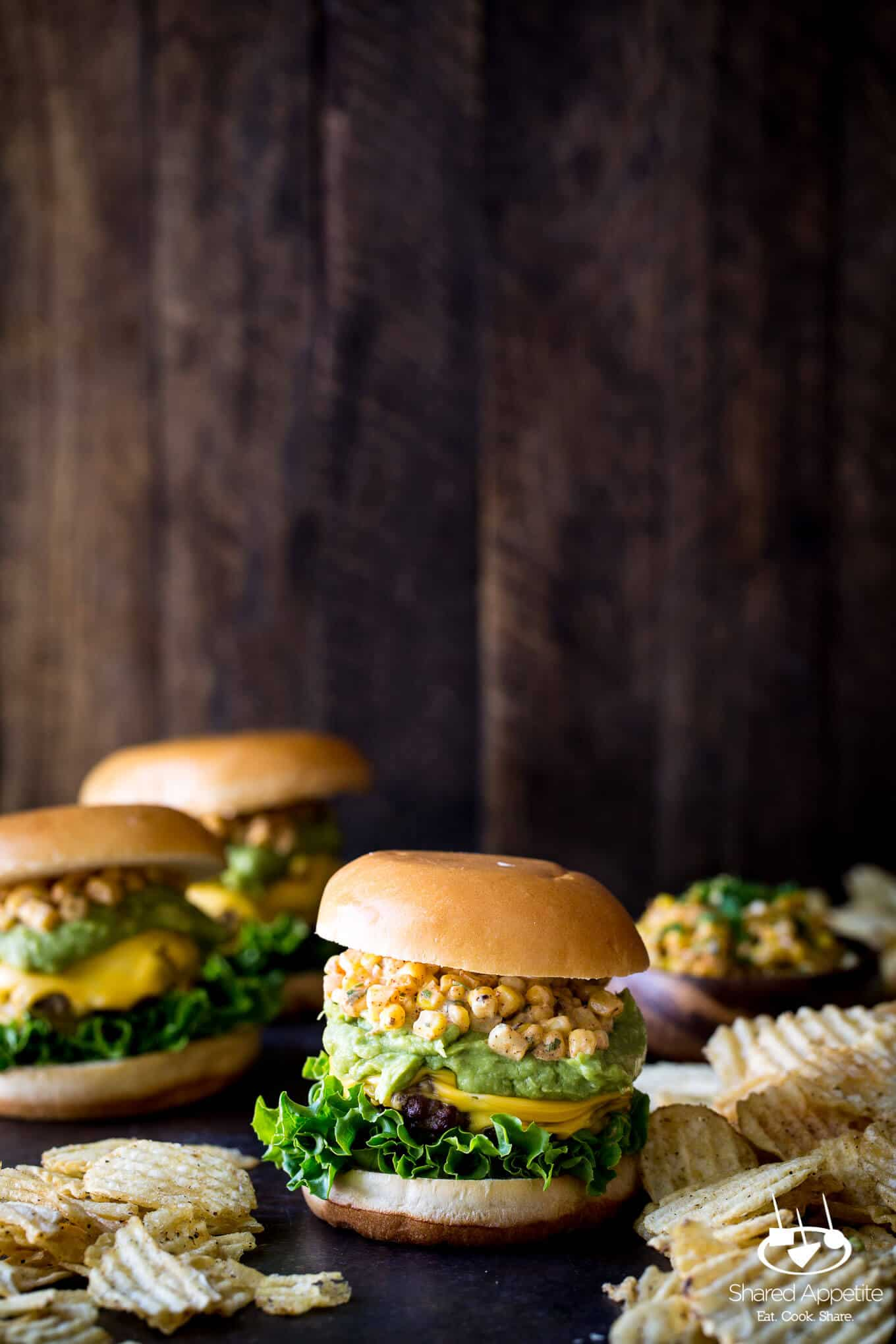 Mexican Street Corn Burgers with Guacamole | sharedappetite.com