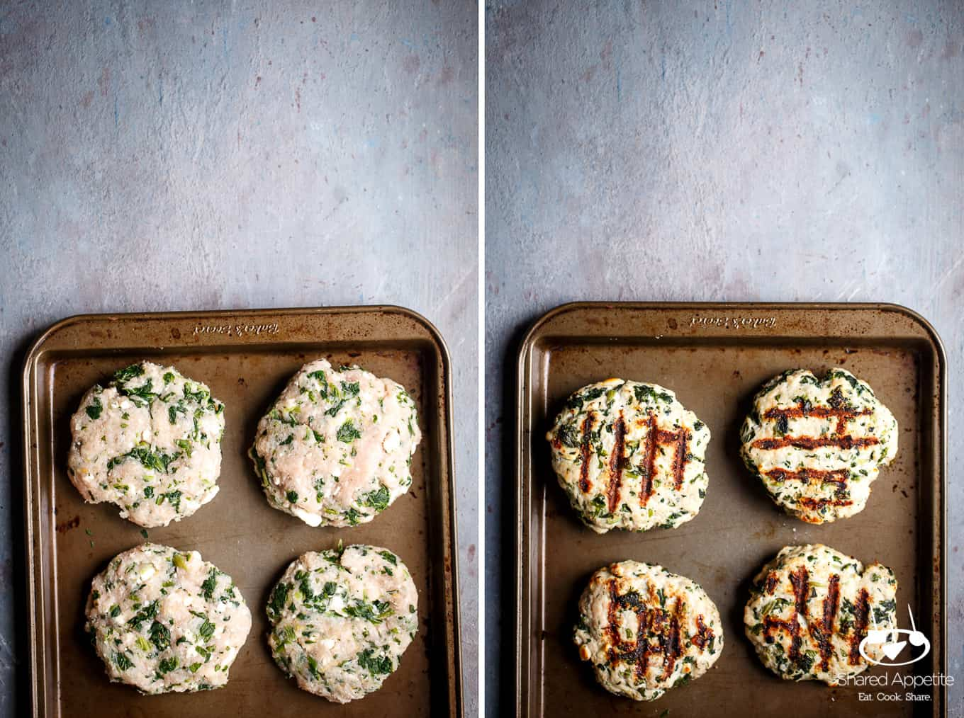 Greek Turkey Burger patties, uncooked and then cooked | sharedappetite.com