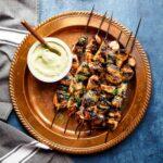 Honey Sriracha Chicken Kebabs with Avocado Ranch | sharedappetite.com