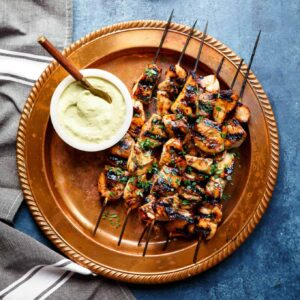 Honey Sriracha Chicken Kebabs with Avocado Ranch