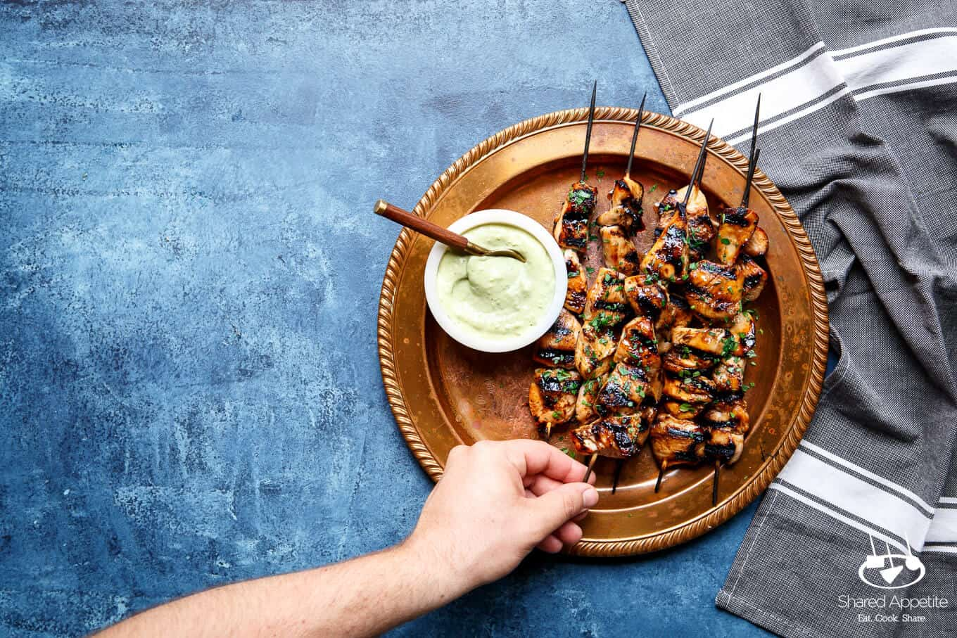 Honey Sriracha Chicken Kebabs with Avocado Ranch | sharedappetite.com