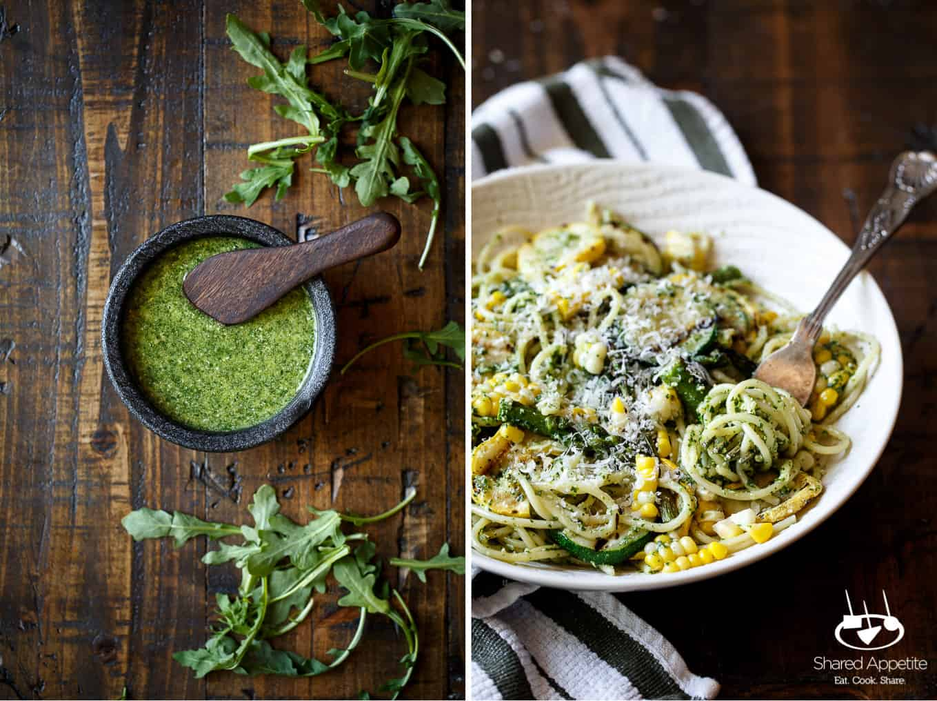 Arugula Pesto and a Fork in Summer Vegetable Pasta with Arugula Pesto | sharedappetite.com
