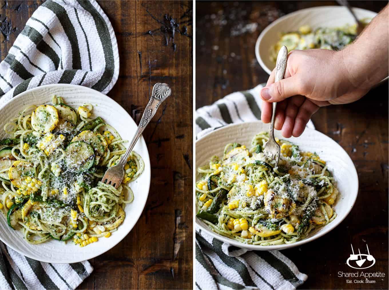 Summer Vegetable Pasta with Arugula Pesto | sharedappetite.com