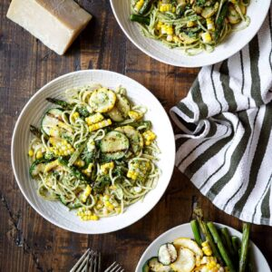 Summer Vegetable Pasta with Arugula Pesto | sharedappetite.com