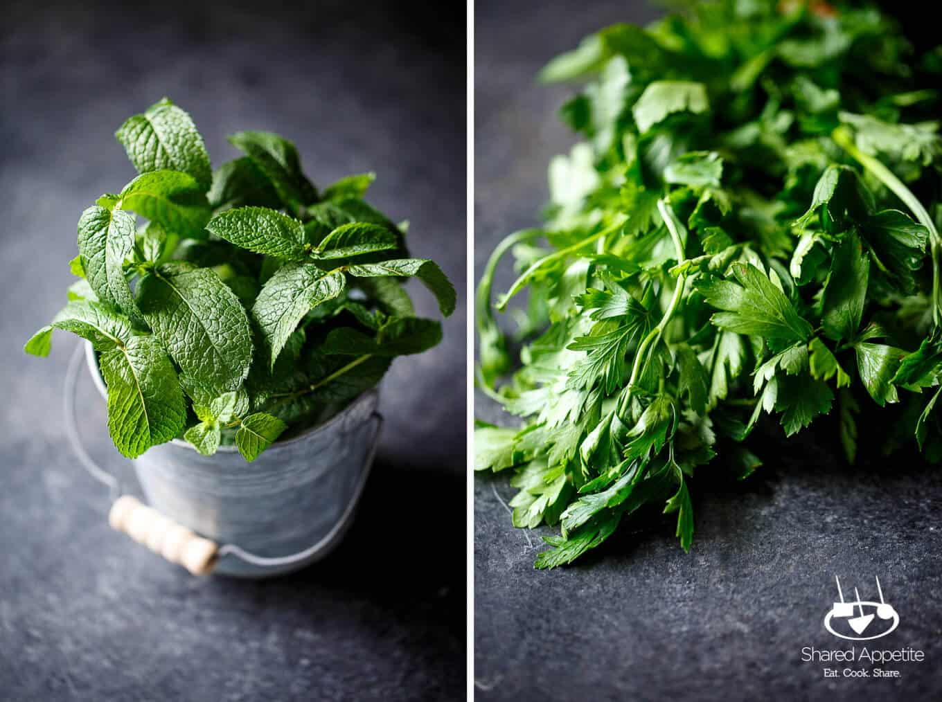 Mint and Parsley for Grilled Lamb Chops with Mint Chimichurri | sharedappetite.com