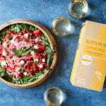 Grilled Watermelon Salad with Arugula, Feta, and Pickled Onions and Bota Box Pinot Grigio | sharedappetite.com