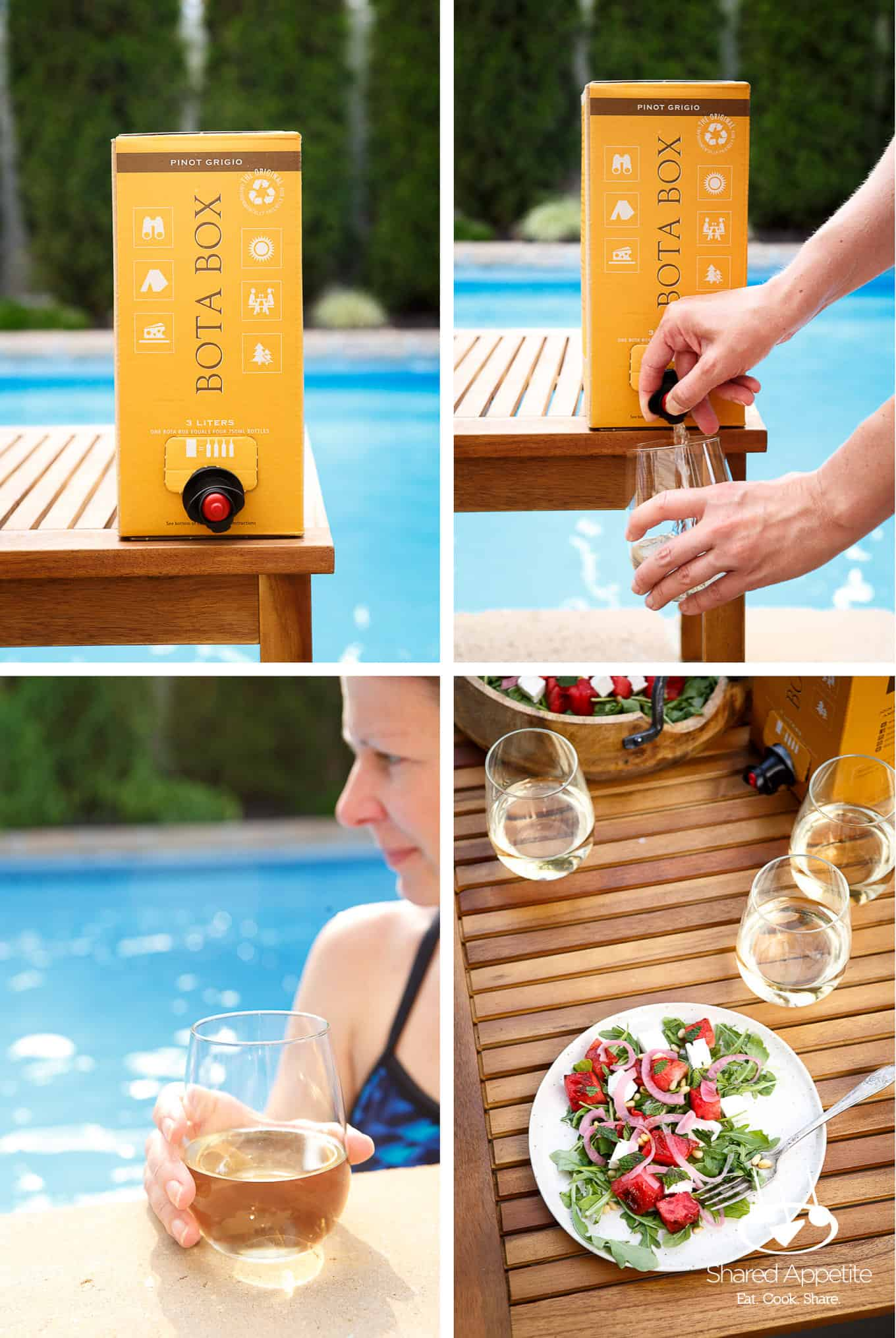 Enjoying Bota Box by the Pool with Grilled Watermelon Salad with Arugula, Feta, and Pickled Onions | sharedappetite.com