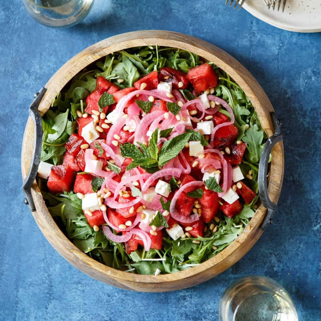Grilled Watermelon Salad With Arugula, Feta, And Pickled