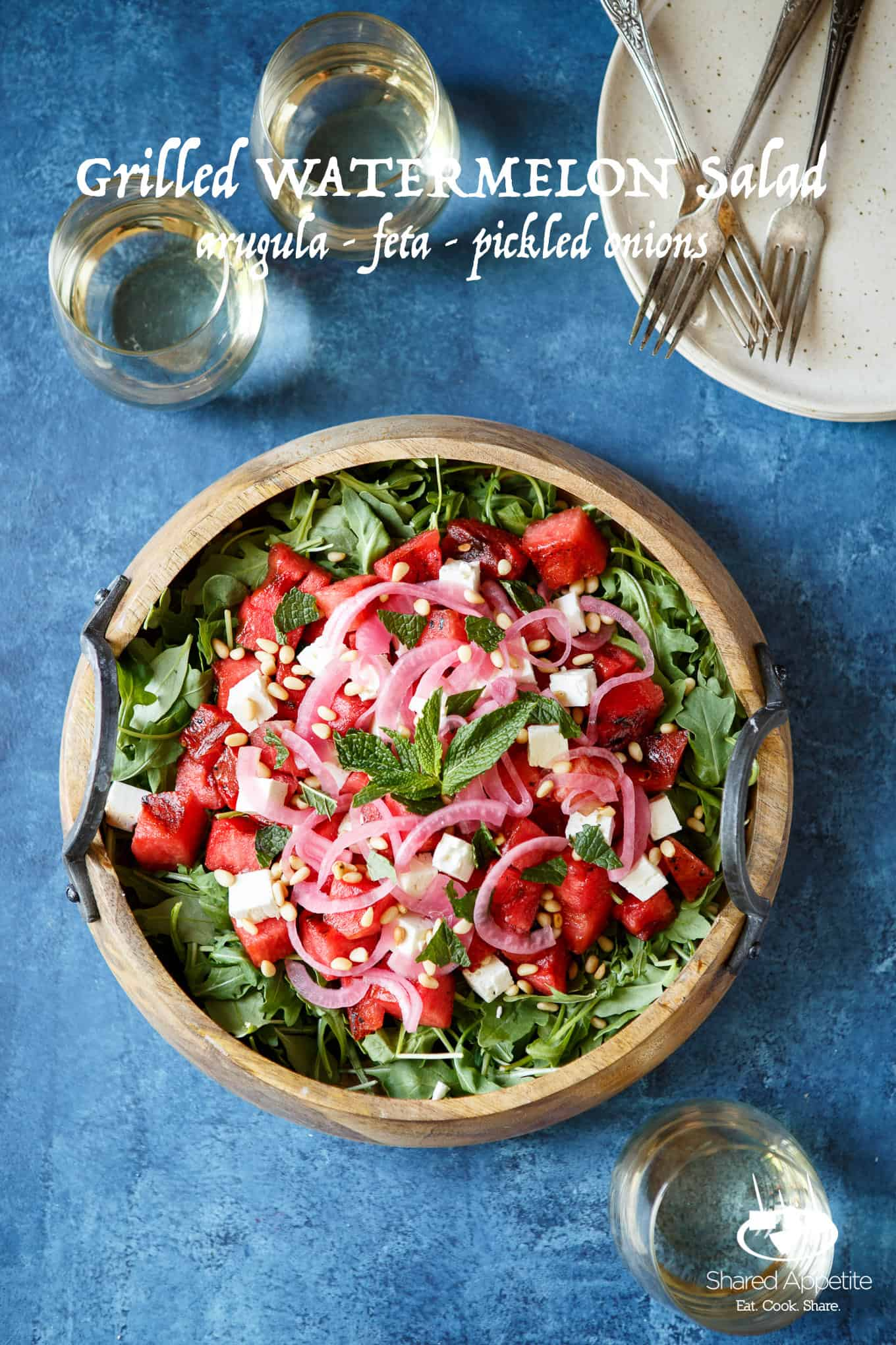 Grilled Watermelon Salad with Arugula, Feta, and Pickled Onions | sharedappetite.com
