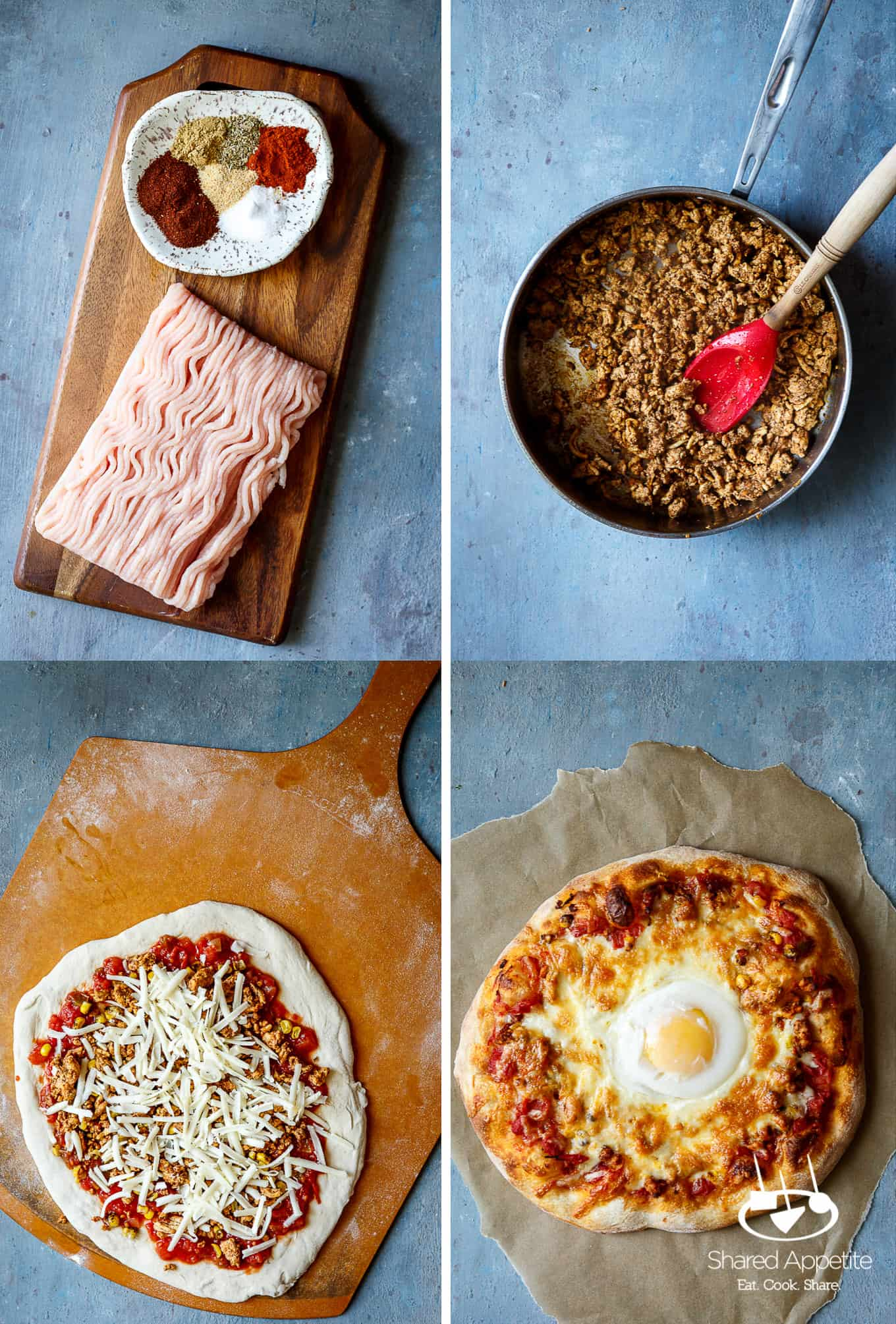 All the ingredients for Huevos Rancheros Pizza with Turkey Chorizo | sharedappetite.com