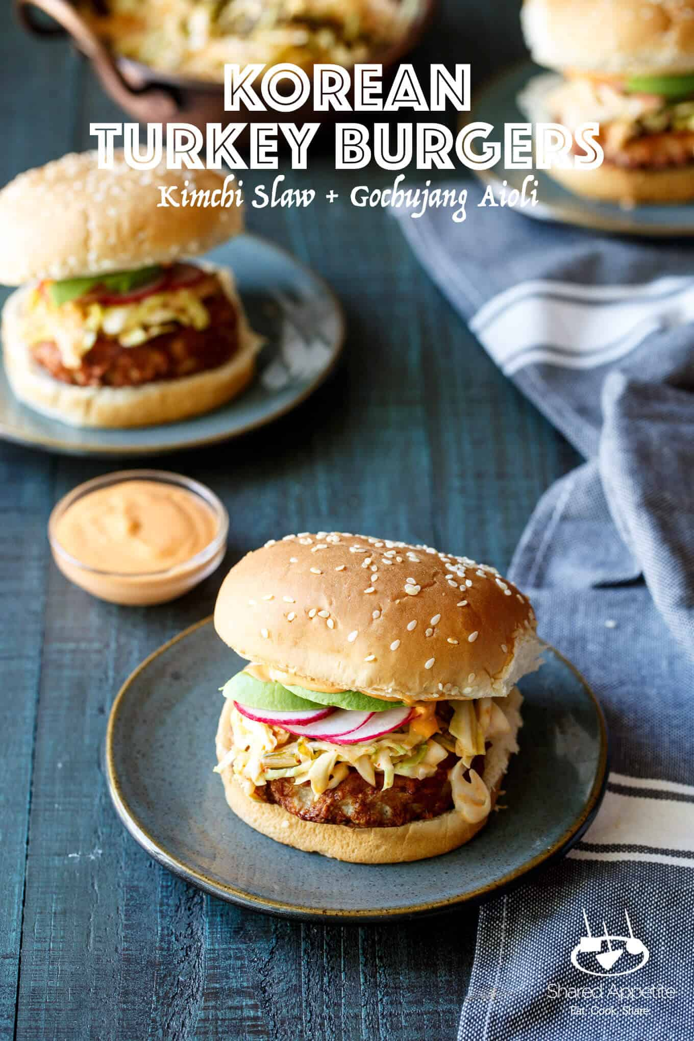 Korean Turkey Burgers with Kimchi Slaw, Avocado, and Gochujang Aioli   sharedappetite.com