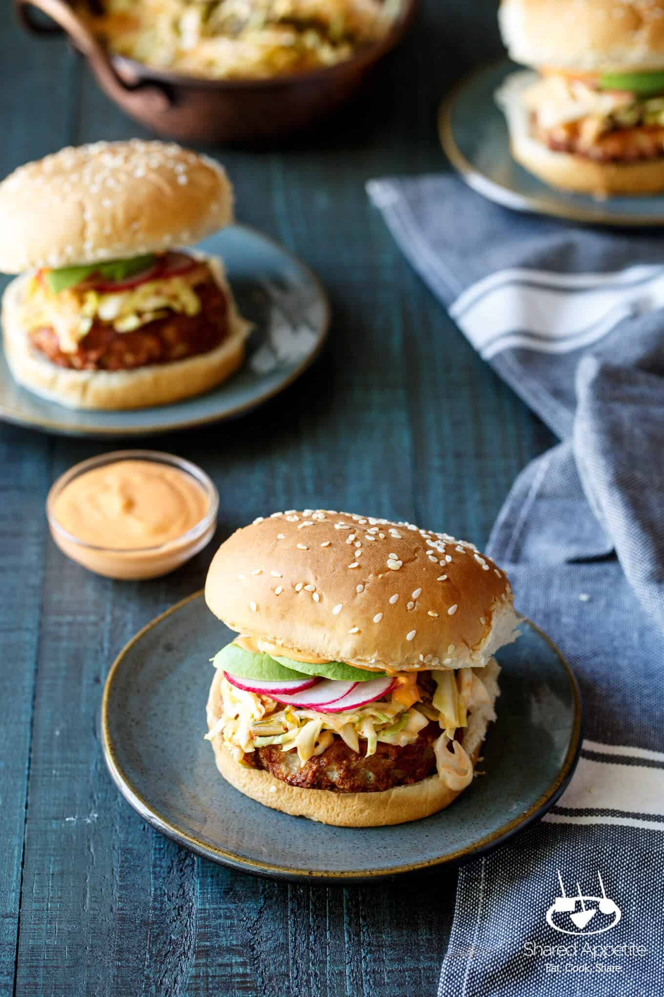 Korean Turkey Burgers with Kimchi Slaw, Avocado, and Gochujang Aioli | sharedappetite.com
