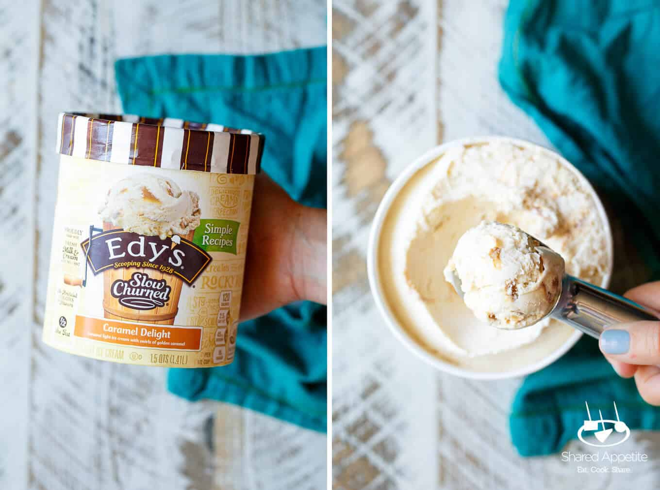 Mini Caramel Pretzel Ice Cream Trifles with Brownie made with Edy's Slow Churned Ice Cream | sharedappetite.com