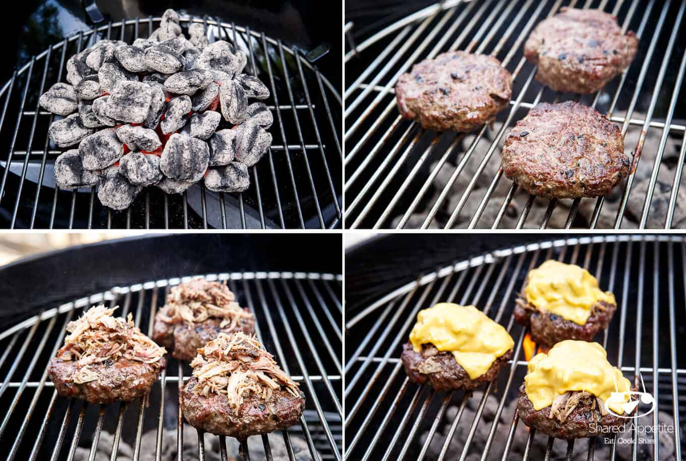 Showing the Process of Grilling the Pulled Pork Bacon Cheeseburgers | sharedappetite.com