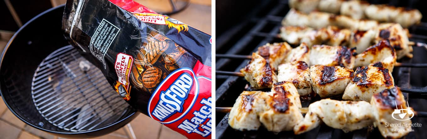 Kingsfords Charcoal of The Ultimate Chicken Souvlaki with Tzatziki and Israeli Salad