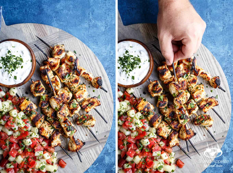 The Ultimate Chicken Souvlaki with Tzatziki and Israeli Salad