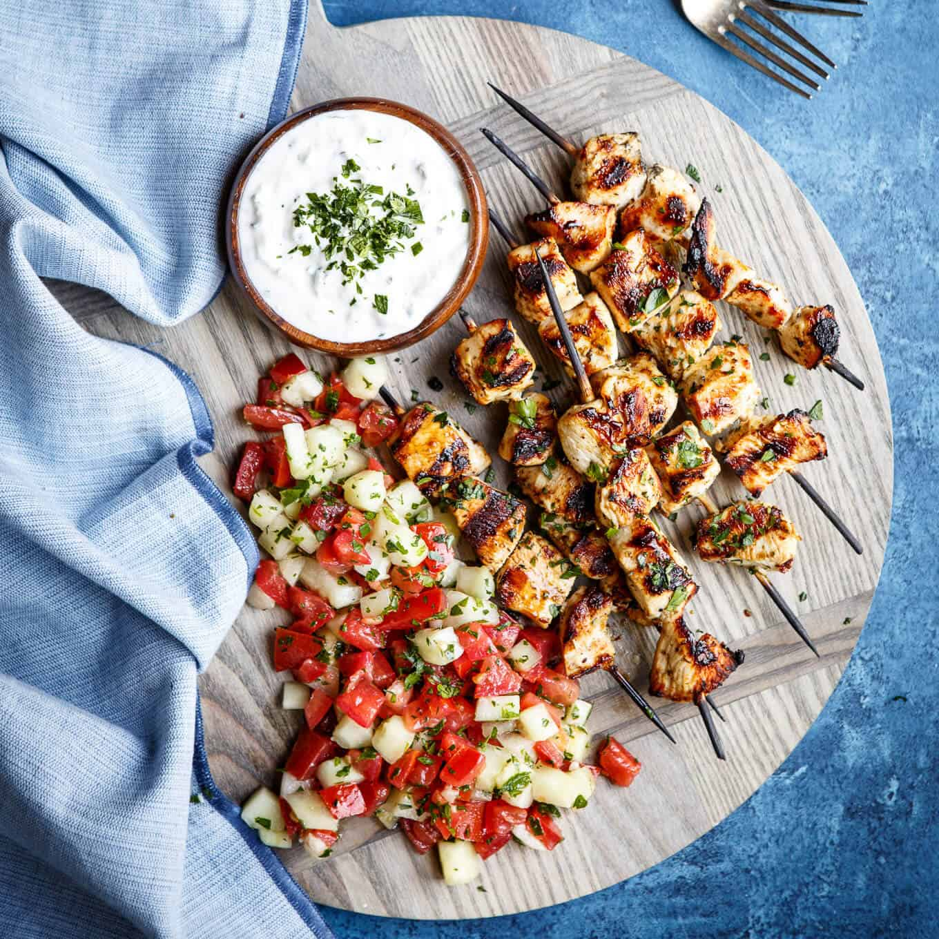 The Ultimate Chicken Souvlaki With Tzatziki And Israeli Salad