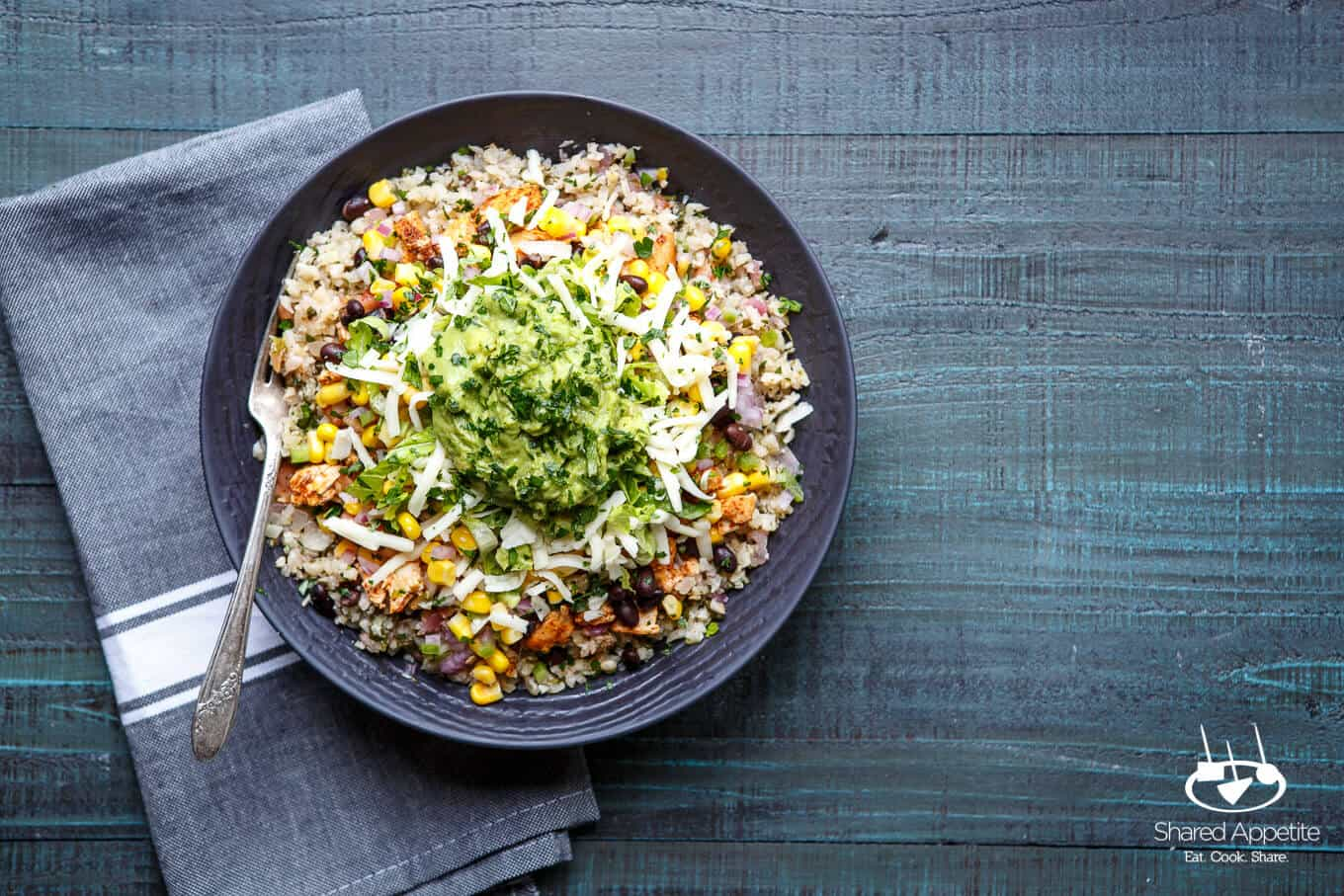 Healthy Cauliflower Rice Burrito Bowls | sharedappetite.com