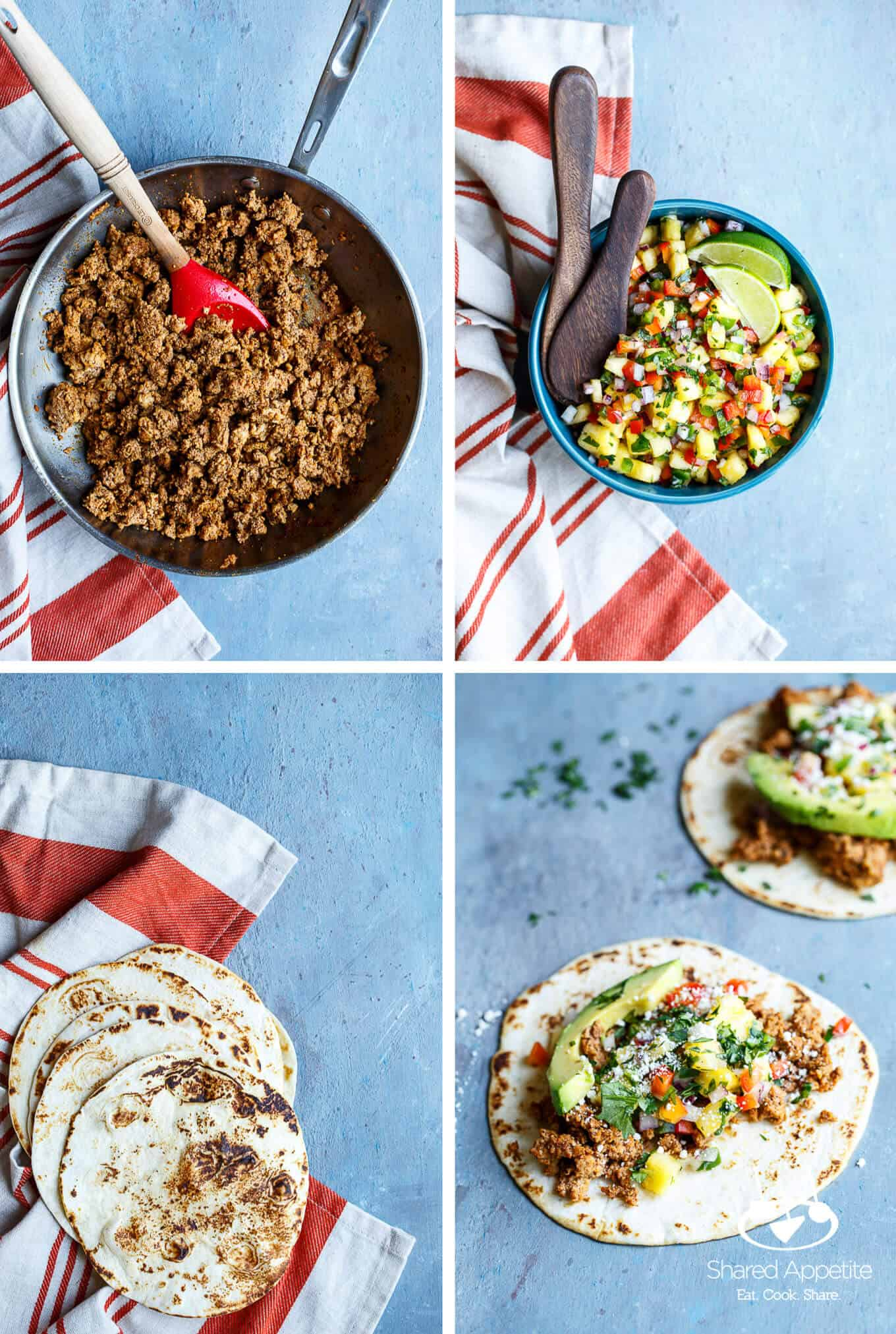 Turkey for Tacos, Pineapple Salsa, Tortillas, and Healthy Turkey Tacos with Pineapple Salsa | sharedappetite.comf