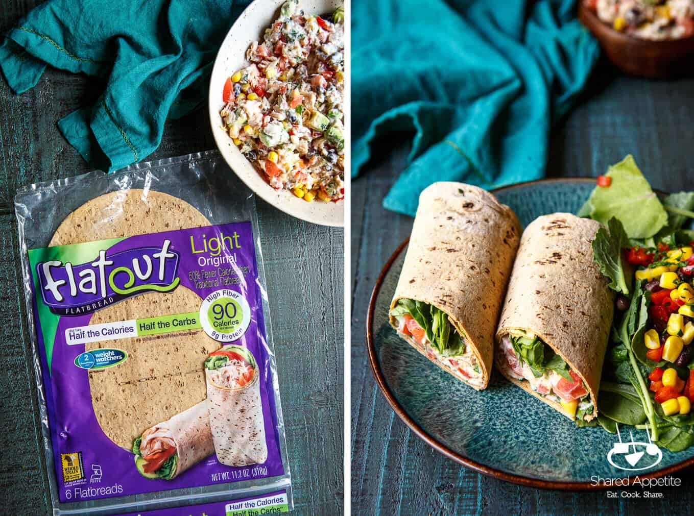 Healthy Southwest Tuna Salad Wraps | sharedappetite.com