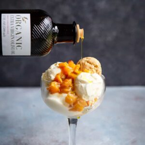 No Churn Olive Oil Ice Cream with Roasted Peaches