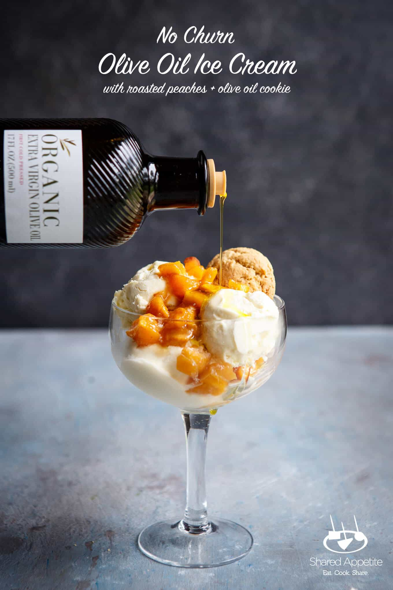 No Churn Olive Oil Ice Cream with Brown Sugar Roasted Peaches with Olive Oil Cookie | sharedappetite.com