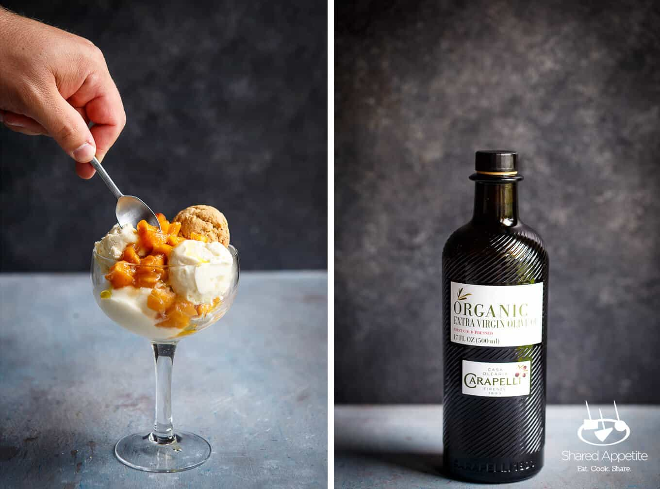 Churn Olive Oil Ice Cream with Brown Sugar Roasted Peaches with Olive Oil Cookie along with a bottle of Carapelli Organic Extra Virgin Olive Oil | sharedappetite.com