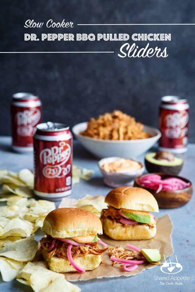 Slow Cooker Dr. Pepper BBQ Pulled Chicken Sliders | sharedappetite.com