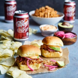 Slow Cooker Dr. Pepper BBQ Pulled Chicken Sliders | sharedappetite.com
