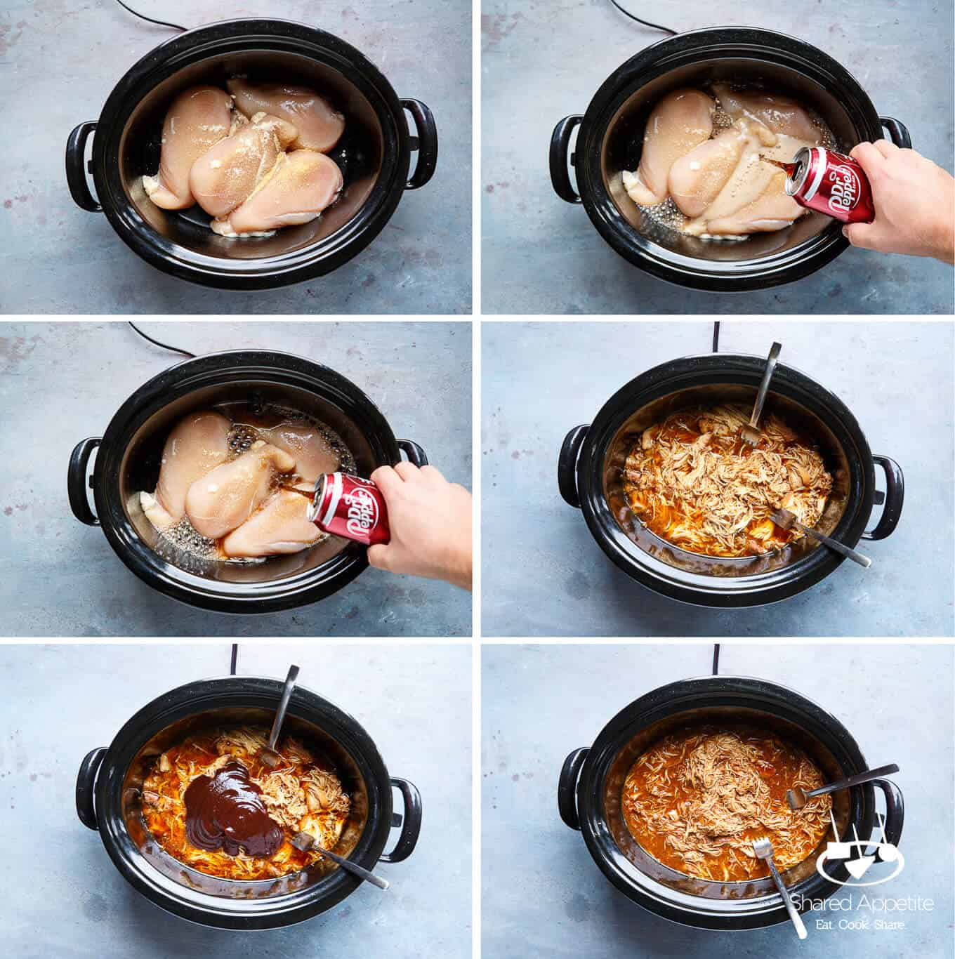 Step by step how to make Slow Cooker Dr. Pepper BBQ Pulled Chicken Sliders | sharedappetite.com